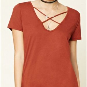 Forever21 Cross Front Tee